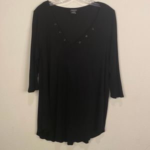 Torrid Black Ribbed 3/4 Sleeve Top